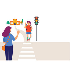 schoolgirl crossing a road on her way to school vector image