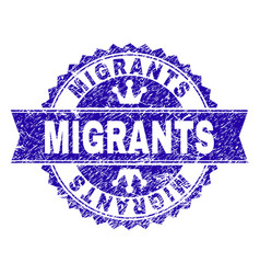 Scratched textured migrants stamp seal with ribbon vector
