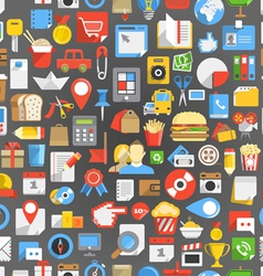 Seamless background of many interface icons vector image