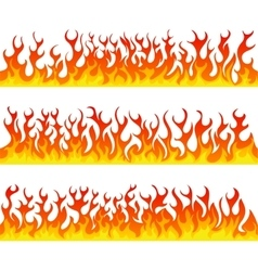 Seamless fire flames line set vector