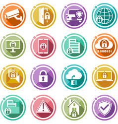 security icons set flat icons for your business vector image