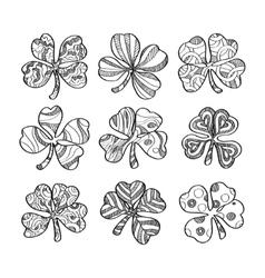 set hand drawn monochrome shamrock isolated on vector image