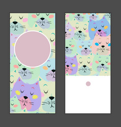 set of birthday greeting cards with sleeping cat vector image