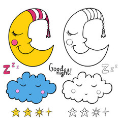 Set of images about sleeping for coloring good vector