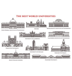 set of isolated university and institute college vector image