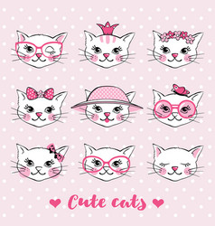 set with hand drawn cute cat faces vector image