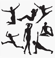silhouettes of woman fitness 1 vector image