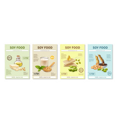 Soy food posters set vector