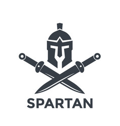 Spartan logo template with helmet and swords vector