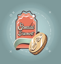 special discount dollar coin label retro shopping vector image