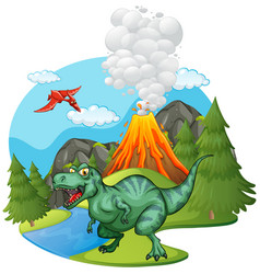 T-rex roaring by the volcano vector