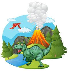 T-rex roaring volcano vector