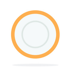 Tea saucer with orange piping flat isolated vector