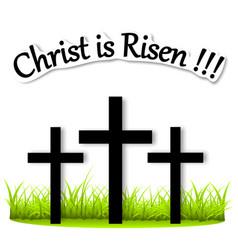 Three crosses on the grass risen christ vector