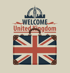Tourist banner with suitcase and flag of uk vector