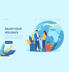 travelling concept with a caucasian couple vector image