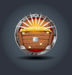treasure chest rusty iron rounded badge icon for vector image