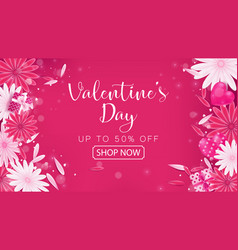 Valentines day sale red magenta banner vector