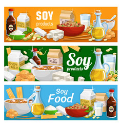 Vegetarian nutrition soy and soybean food products vector