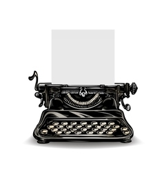 Vintage typewriter isolated on white background vector