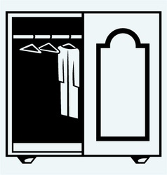 Wardrobe with clothes vector image
