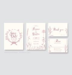 Wedding invitation card save date rsvp vector