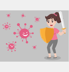Woman holding sword and sheild ready to fight viru vector