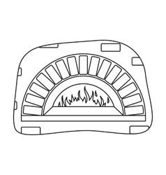 Wood-fired oven icon in outline style isolated on vector