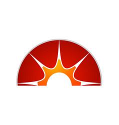 yellow sun symbol half circle sun element vector image