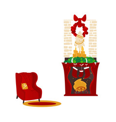 christmas fireplace and armchair cozy scene vector image