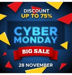 Cyber Monday promo banner background vector image vector image