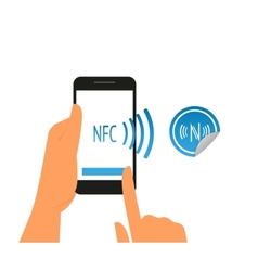 Smartphone with nfc function and mobile tag vector image vector image