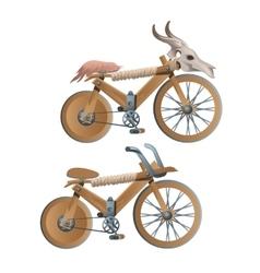 Two wooden retro bicycles decor animal skull vector