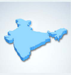 Detailed 3d map of india asia vector