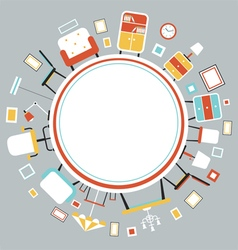 Furniture Flat Icons in Round Frame vector image