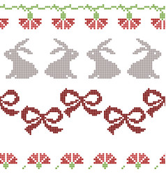 Seamless cross stitches easter pattern on white vector