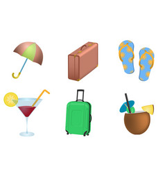 set of summer vacation objects vector image vector image