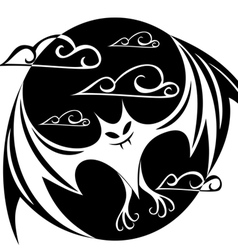 stylized image of a bat in the circle vector image