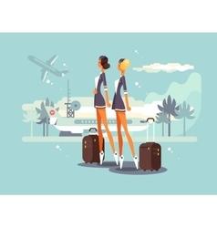 Beautiful flight attendants vector image