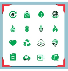 Ecology icons In a frame series vector image vector image