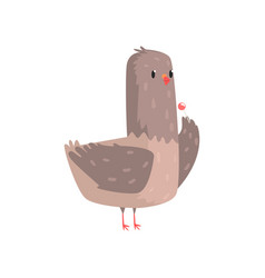 funny dove standing with chupa chups vector image