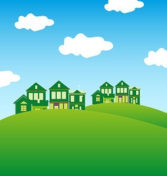 Green houses background vector image vector image