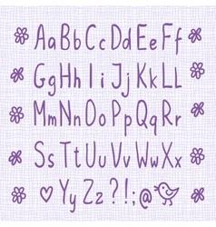 Hand drawn thin font vector image