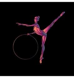 Rhythmic Gymnastics with Hoop Silhouette on black vector image vector image
