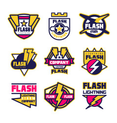 flash lightning company logo design template vector image vector image