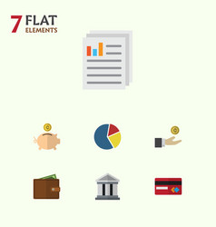 Flat icon incoming set of document graph vector