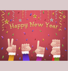 happy new year 2018 shaped hands vector image