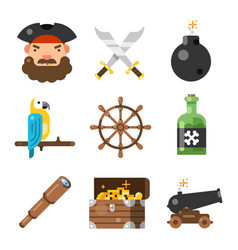 pirate game flat icon set vector image