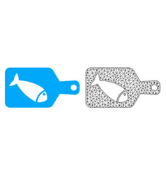 2d mesh fish cutting board and flat icon vector