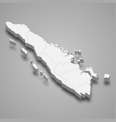3d isometric map sumatra is a island vector